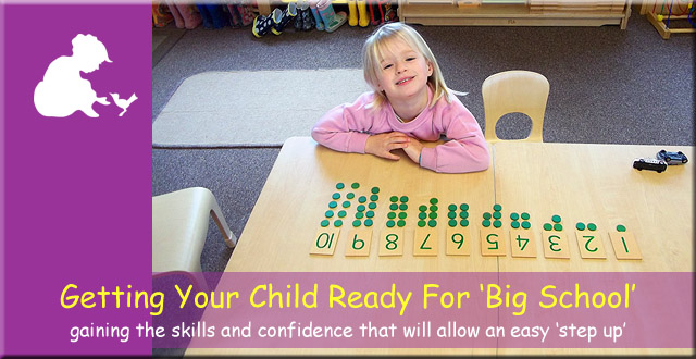 Anne Frank Montessori Day Nursery - getting your child ready for 'big school' - gaining the skills and confidence that will allow an easy 'step up'.