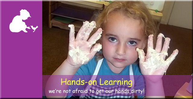 Anne Frank Montessori Day Nursery - hands on learning. We're not afraid to get out hands dirty!
